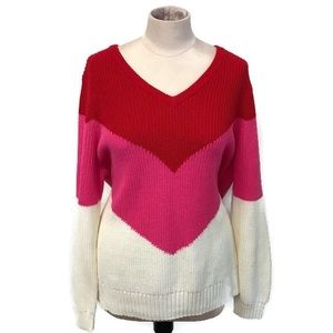 Crown & Ivy || Pink & Red Chevron Sweater || NWT